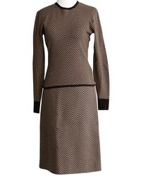 Céline Patterned Top And Skirt Suit - Brown