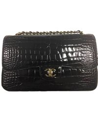 Chanel Classic Flap Maxi Size Crocodile Skin Leather Shoulder Bag - Black