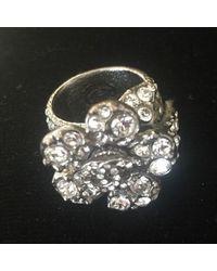 Chanel Silver With Rhinestones 'camellia' Cc Logo Ring - Metallic