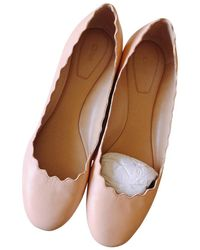 Chloé Delicate Pink Lauren Scalloped Nude Leather Ballerina Flats