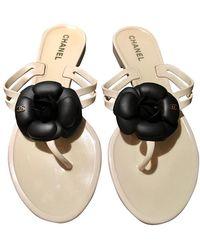 Chanel Jelly Black Camellia Gold Tone Cc Sandals - White