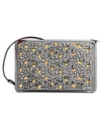 Christian Louboutin Clutch Loubiclutch Studded Glitter Clutch/ Silver Multi Leather Cross Body Bag - Metallic