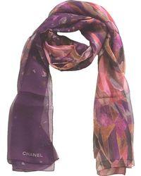 "Chanel Mult-ipurple Cc Abstract Silk Stole Gauze 26"" X 68"" Scarf/wrap"