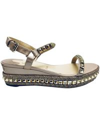 Christian Louboutin Cataclou Studded Platform Sandals - Natural