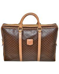 Céline Macadam Paris Attache Case Briefcase Unisex Leather & Coated Canvas Laptop Bag - Brown