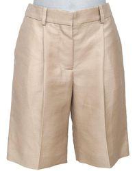 Chloé Knee-length Walking Straight Leg Linen Cotton 36 Shorts - Natural