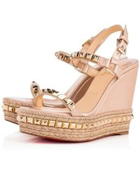 Christian Louboutin Cataclou 120 Studded Patent-leather Wedge Platform Sandals - Natural
