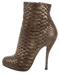 Christian Louboutin Bronze Python Feticha Ankle Boots/booties - Brown