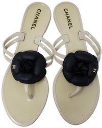 Chanel Black White Gold Jelly Camellia Interlocking Cc Sandals