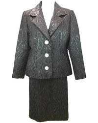 Givenchy Black Couture Textured 40 Skirt Suit