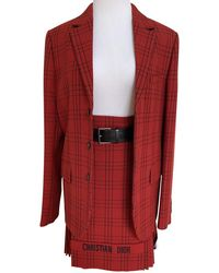 Dior Christian Logo Tartan Plaid Pleated Kilt Jacket Skirt Suit - Red