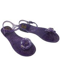Chanel Purple Gold Jelly Camellia Interlocking Cc Logo Sandals