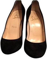Christian Louboutin Black Suede Ron Ron 100 Court Shoes