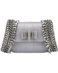 Christian Louboutin Sweet Charity Mini Silver/gunmetal Watersnake Skin Leather Backpack - Metallic