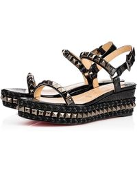 Christian Louboutin Cataclou Spiked Textured-leather Wedge Sandals Flats - Black