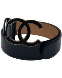 Chanel Black Gold Patent Leather Interlocking Cc Logo Belt