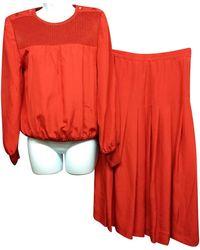 Céline Knit Trim Set 38 Skirt Suit - Red