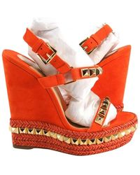 Christian Louboutin Cataclou Suede Gold Spike Sandals 140 37 #632 Wedges - Orange