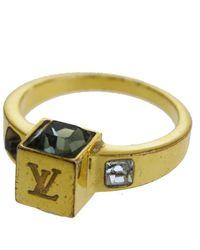 Louis Vuitton Lv Logo Rhinestone Plastic Ring - Metallic