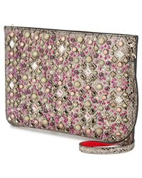 Christian Louboutin Loubiclutch Studded Sparkly Shimmery Leather Shoulder Bag - Multicolor