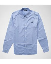 34cf2f1d Fred Perry - Fred Perry M3523 Tape Detail Shirt Light Smoke Shirts & Polos  - Lyst