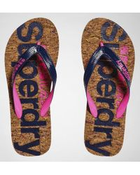 Superdry - Cork Flip Flop Multi Fleck Cork-french Navy Flip Flops - Lyst