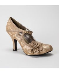 Ruby Shoo - Ruby Shoo Elsy Gold Lace Shoes - Lyst