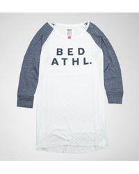 Bedroom Athletics - Bedroom Athletics Lillian L/s Raglan Tee White Marl-navy Marl Pyjamas - Lyst
