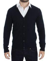 John Galliano Wool Button Down Logo Cardigan Blue Sig17801