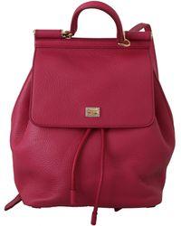 Dolce & Gabbana Leather Sicily Backpack Pink Va8832 - Red