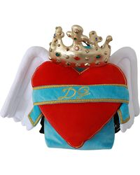 Dolce & Gabbana Heart Wings Dg Crown School Backpack Blue Vas9274 - Red
