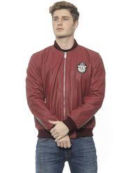 Billionaire Italian Couture Burgundy Leather Bomber Jacket - Red