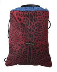 Dolce & Gabbana Red Leopard-print Drawstring Bag