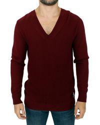 Karl Lagerfeld V-neck Jumper Bordeaux Sig10561 - Red
