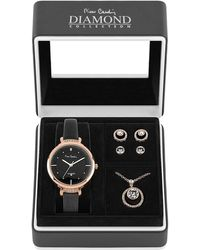 Pierre Cardin Quartz Rose Gold Leather Strap Watch - Black