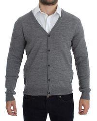 John Galliano Wool Button Down Logo Cardigan Gray Sig17764