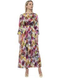 Alpha Studio Multicolor Varunica Feather-print Long Dress