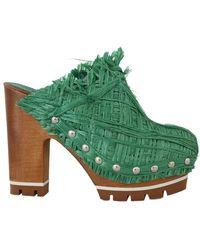 Dolce & Gabbana Raffia Mules Wood Wedges Green La4827