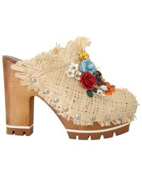 Dolce & Gabbana Dolce. Gabbana Beige Raffia Mules Floral Slides - Multicolour