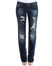 CoSTUME NATIONAL Cotton Torn Regular Fit Jeans Blue Sig30222