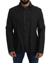 CoSTUME NATIONAL Gray Windbreaker Blazer Jacket - Black