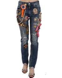 Dolce & Gabbana Crystal Embellished Cross Skinny Denim Pant - Blue