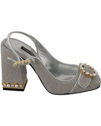Dolce & Gabbana Silver Gold Shiny Crystal Sandals Shoes - Metallic