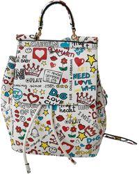 Dolce & Gabbana Leather Sicily Backpack White Vas9227