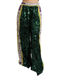 Dolce & Gabbana Green Sequin Trousers Queens Angel Trousers