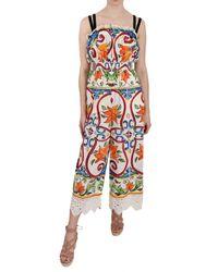 Dolce & Gabbana Majolica Cotton Dress Multicolour Dr1674