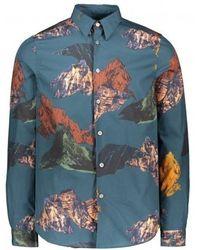 Paul Smith Ls Tailored Mountain Shirt - Blue
