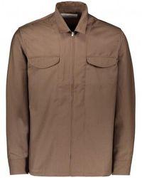 Uniform Bridge Zip Up Shirts Jacket - Brown