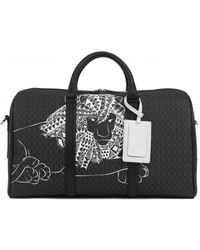 BOSS by Hugo Boss Monogram-print Holdall In Italian Fabric With Collection Artwork - Black