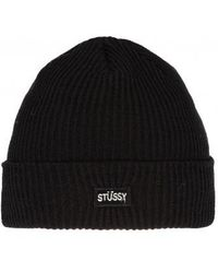 8fdc03fcd80 Stussy Small Patch Watchcap Beanie in Black for Men - Lyst